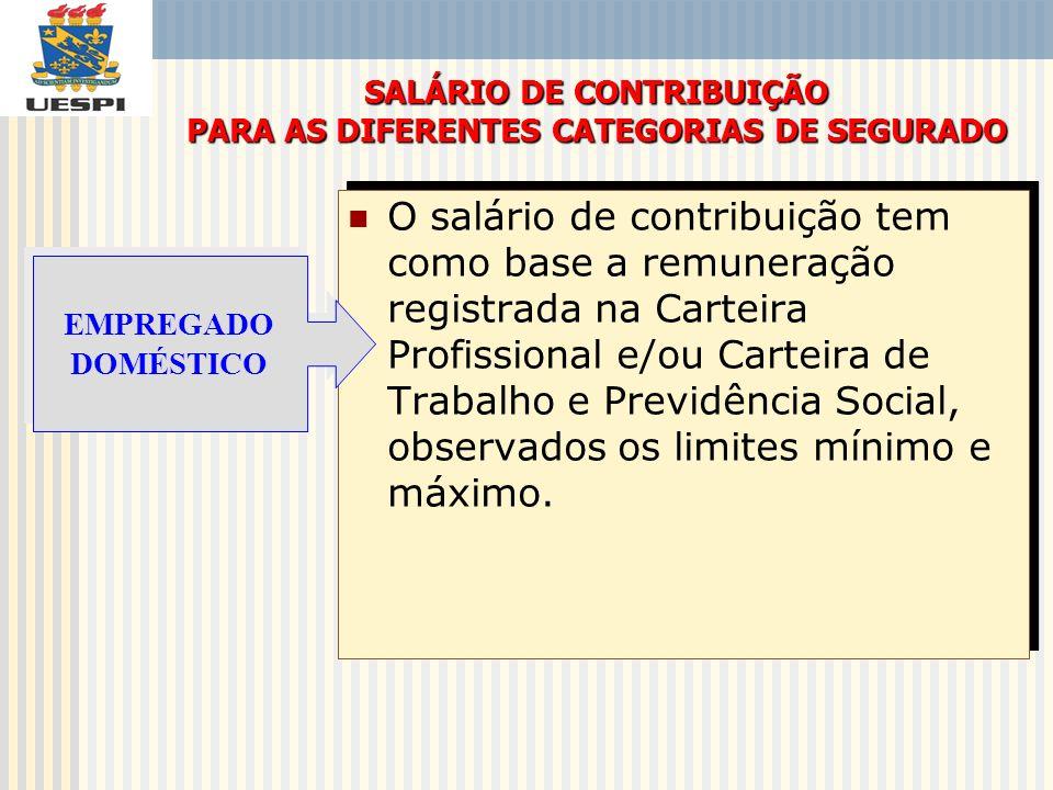 O salário de contribuição tem como base a remuneração registrada na Carteira Profissional e/ou Carteira de Trabalho e Previdência Social, observados o