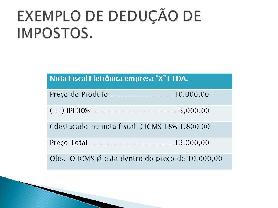 Nota Fiscal Eletrônica empresa X LTDA. Preço do Produto___________________10.000,00 ( + ) IPI 30% _________________________3,000,00 ( destacado na not