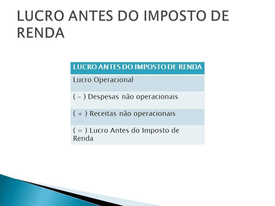 LUCRO ANTES DO IMPOSTO DE RENDA Lucro Operacional ( - ) Despesas não operacionais ( + ) Receitas não operacionais ( = ) Lucro Antes do Imposto de Rend