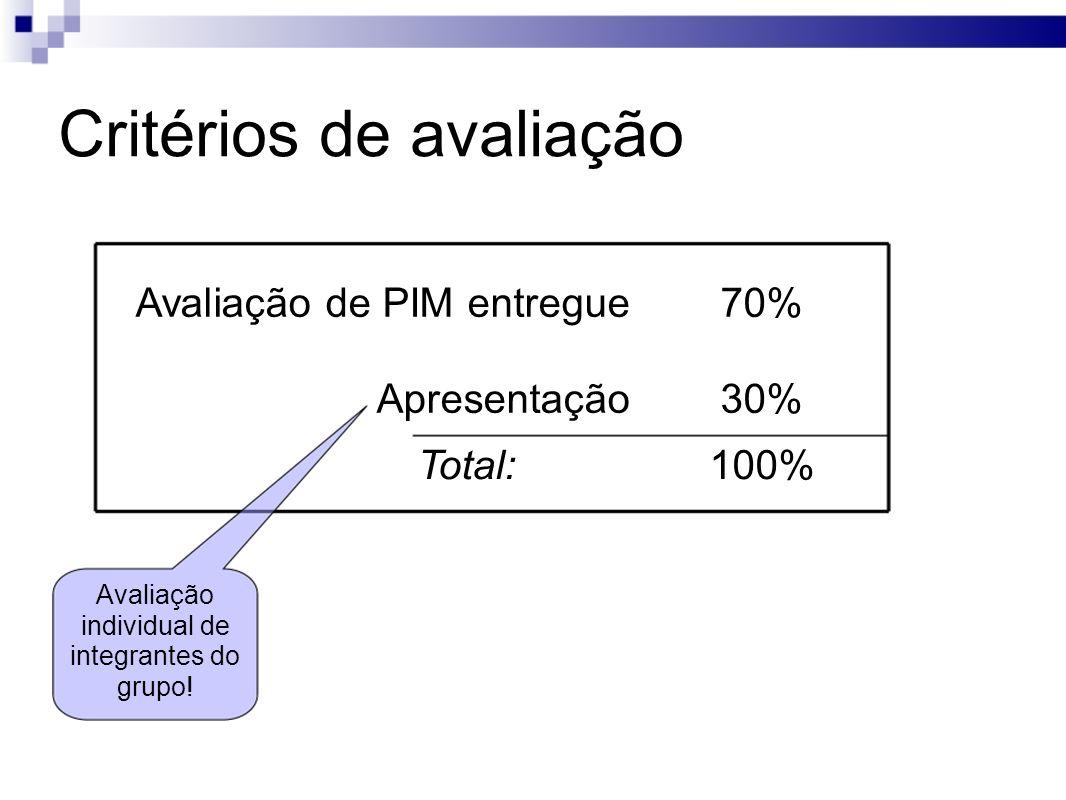 Critérios de avaliação Avaliação de PIM entregue70% Apresentação30% Total:100% Avaliação individual de integrantes do grupo!