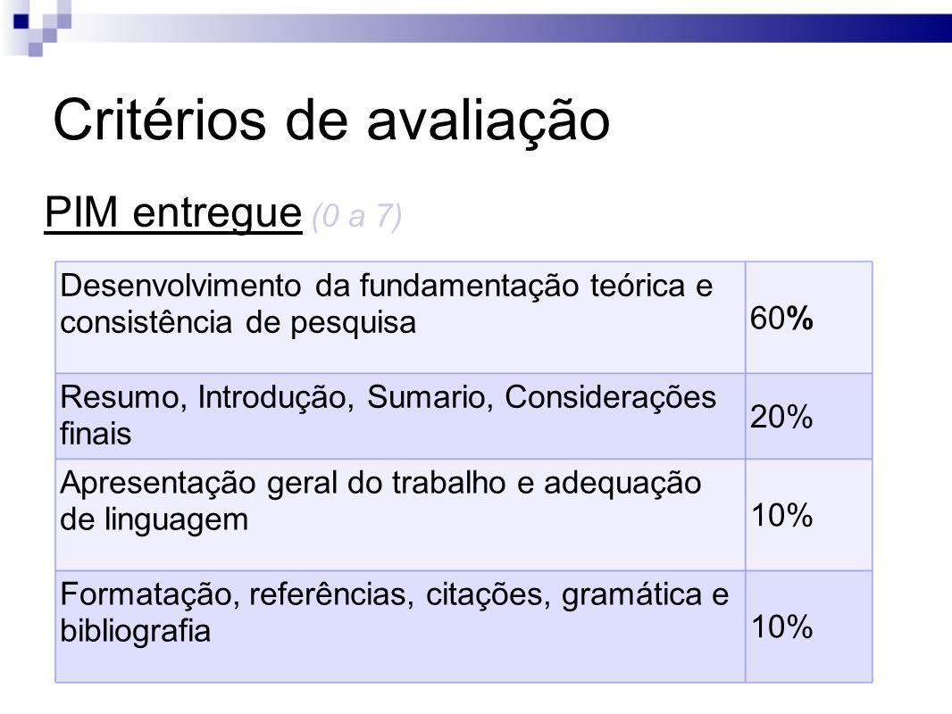 Critérios de avaliação PIM entregue (0 a 7) Desenvolvimento da fundamentação teórica e consistência de pesquisa 60% Resumo, Introdução, Sumario, Consi
