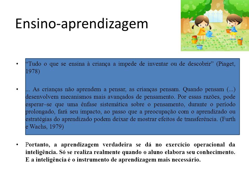 Ensino-aprendizagem Tudo o que se ensina à criança a impede de inventar ou de descobrir (Piaget, 1978)... As crianças não aprendem a pensar, as crianç