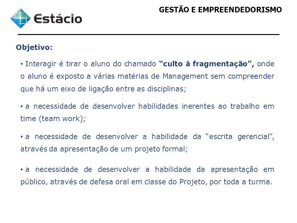 GESTÃO E EMPREENDEDORISMO Metodologia: Deverá ser desenvolvido em grupo de até 7 pessoas.