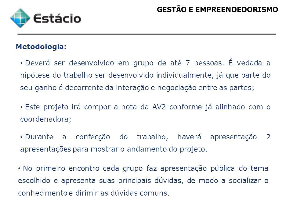 GESTÃO E EMPREENDEDORISMO Metodologia: Apresentação da situação do projeto pelos grupos, na forma a seguir: -Tempo de até 35 min.
