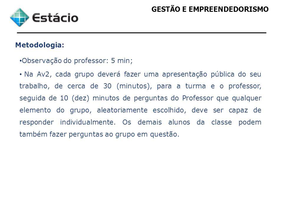 GESTÃO E EMPREENDEDORISMO Metodologia: Observação do professor: 5 min; Na Av2, cada grupo deverá fazer uma apresentação pública do seu trabalho, de ce