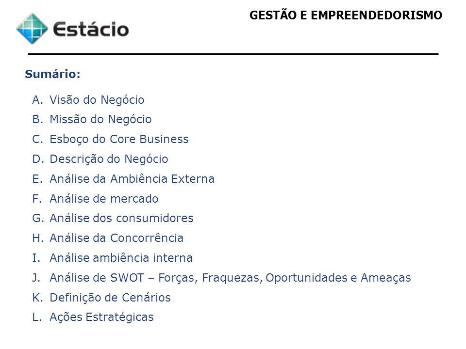 GESTÃO E EMPREENDEDORISMO Sumário: A.Visão do Negócio B.Missão do Negócio C.Esboço do Core Business D.Descrição do Negócio E.Análise da Ambiência Exte