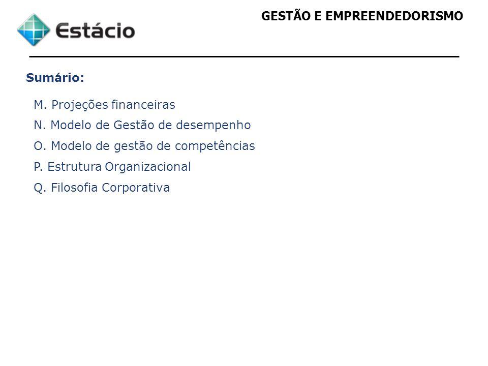 GESTÃO E EMPREENDEDORISMO Sumário: M. Projeções financeiras N. Modelo de Gestão de desempenho O. Modelo de gestão de competências P. Estrutura Organiz