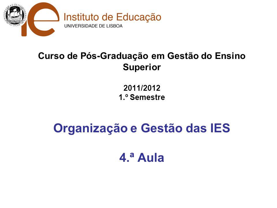 Curso de Pós-Graduação em Gestão do Ensino Superior 2011/2012 1.º Semestre Organização e Gestão das IES 4.ª Aula