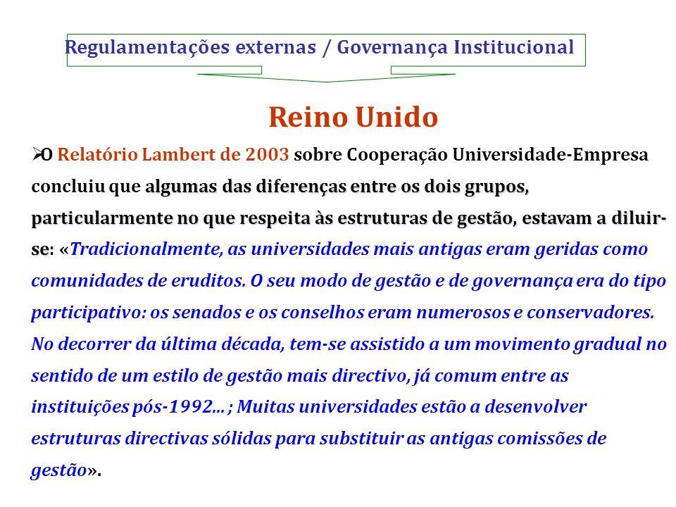 Regulamentações externas / Governança Institucional Reino Unido algumas das diferenças entre os dois grupos, particularmente no que respeita às estrut