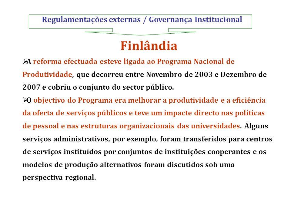 Regulamentações externas / Governança Institucional Finlândia A reforma efectuada esteve ligada ao Programa Nacional de Produtividade, que decorreu en