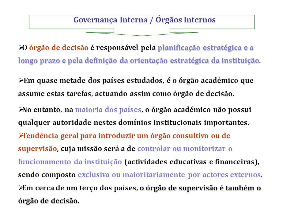 Governança Interna / Órgãos Internos planificação estratégica e a longo prazo e pela definição da orientação estratégica da instituição O órgão de dec