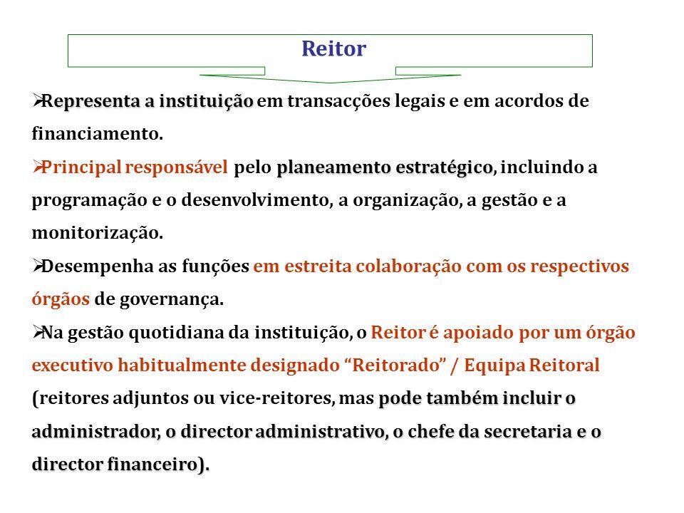 Reitor epresenta a instituição Representa a instituição em transacções legais e em acordos de financiamento. planeamento estratégico Principal respons