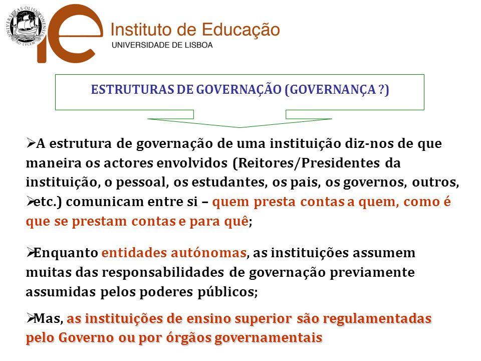 ESTRUTURAS DE GOVERNAÇÃO (GOVERNANÇA ?) A estrutura de governação de uma instituição diz-nos de que maneira os actores envolvidos (Reitores/Presidente