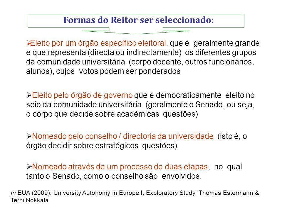 Formas do Reitor ser seleccionado: Eleito por um órgão específico eleitoral, que é geralmente grande e que representa (directa ou indirectamente) os d