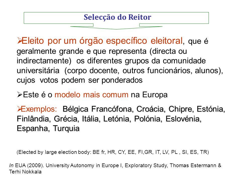 Selecção do Reitor Eleito por um órgão específico eleitoral, que é geralmente grande e que representa (directa ou indirectamente) os diferentes grupos