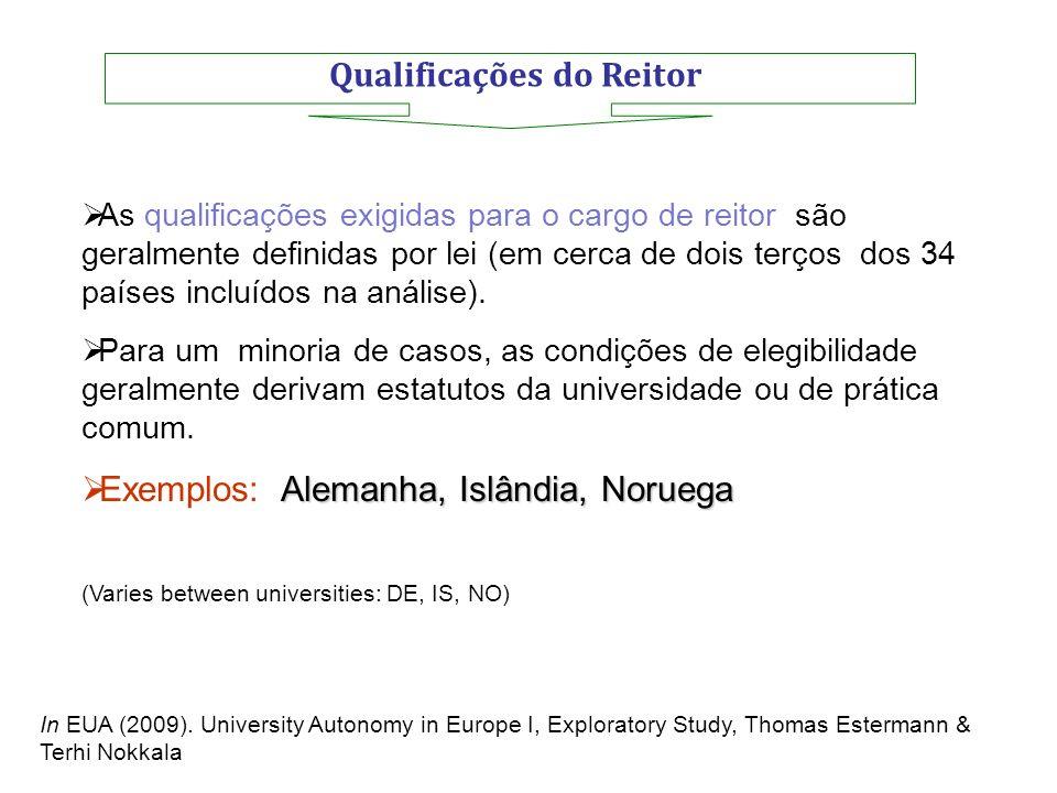 Qualificações do Reitor As qualificações exigidas para o cargo de reitor são geralmente definidas por lei (em cerca de dois terços dos 34 países inclu