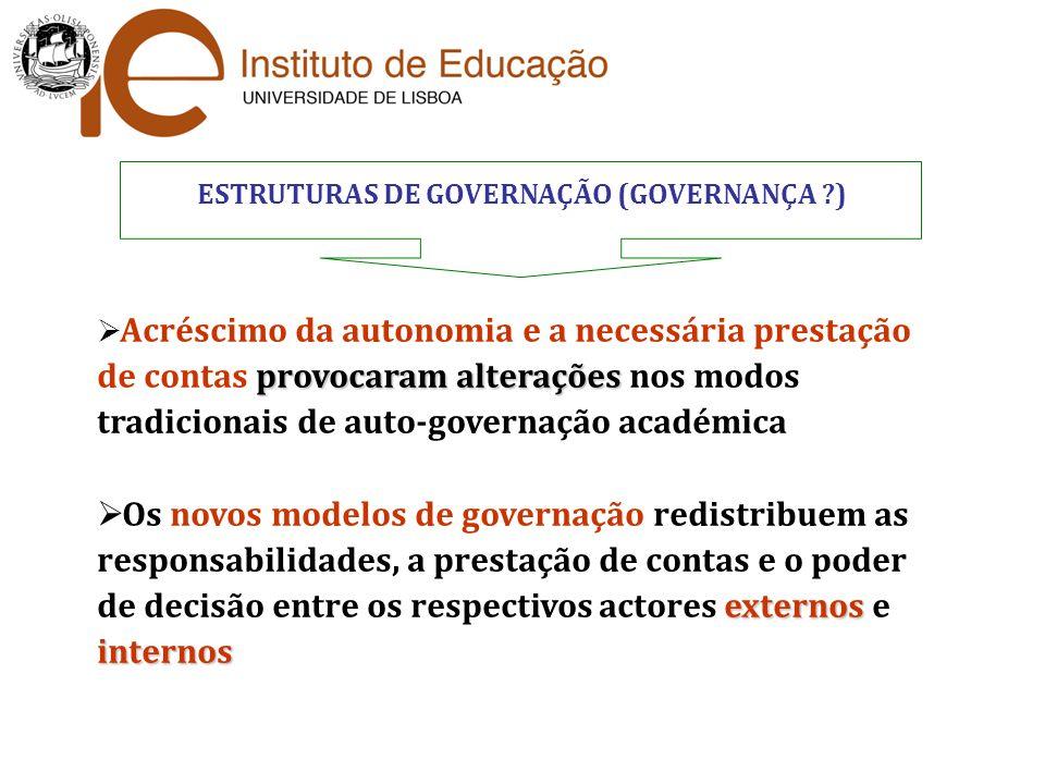 ESTRUTURAS DE GOVERNAÇÃO (GOVERNANÇA ?) provocaram alterações Acréscimo da autonomia e a necessária prestação de contas provocaram alterações nos modo