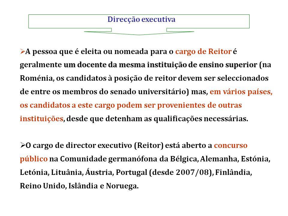 Direcção executiva um docente da mesma instituição de ensino superior A pessoa que é eleita ou nomeada para o cargo de Reitor é geralmente um docente