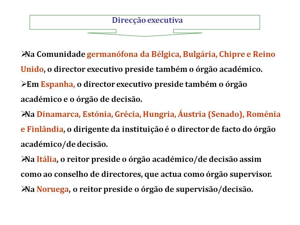 Direcção executiva Na Comunidade germanófona da Bélgica, Bulgária, Chipre e Reino Unido, o director executivo preside também o órgão académico. Em Esp
