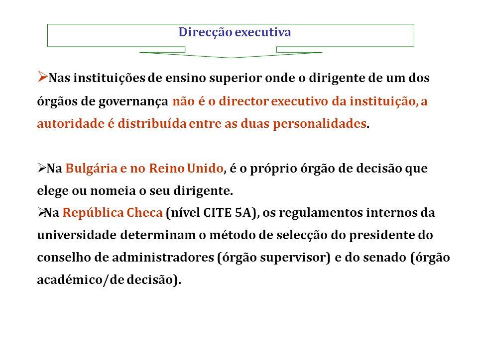 Direcção executiva Nas instituições de ensino superior onde o dirigente de um dos órgãos de governança não é o director executivo da instituição, a au