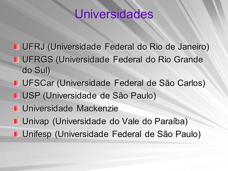 Universidades UFRJ (Universidade Federal do Rio de Janeiro) UFRGS (Universidade Federal do Rio Grande do Sul) UFSCar (Universidade Federal de São Carl