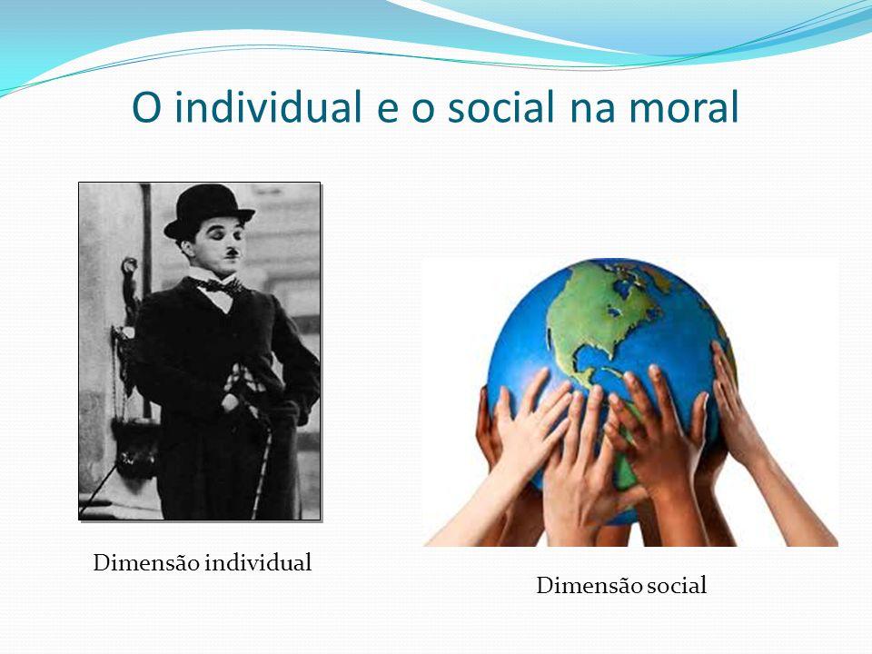 O individual e o social na moral Dimensão individual Dimensão social