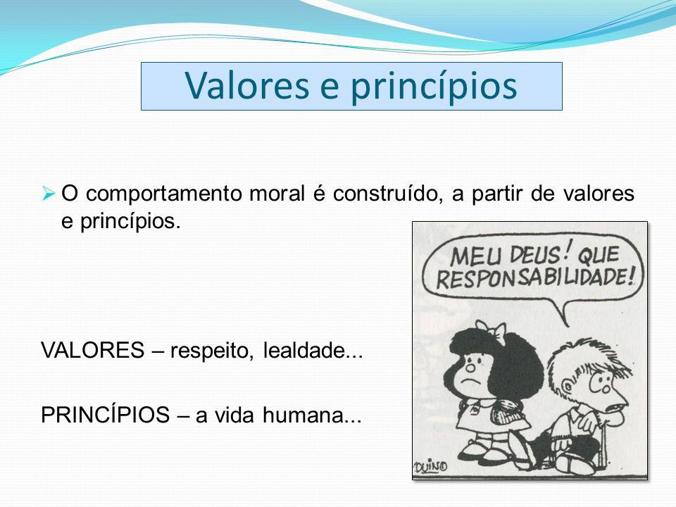 Valores e princípios O comportamento moral é construído, a partir de valores e princípios. VALORES – respeito, lealdade... PRINCÍPIOS – a vida humana.
