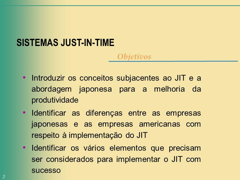 2 SISTEMAS JUST-IN-TIME Objetivos Introduzir os conceitos subjacentes ao JIT e a abordagem japonesa para a melhoria da produtividade Identificar as di