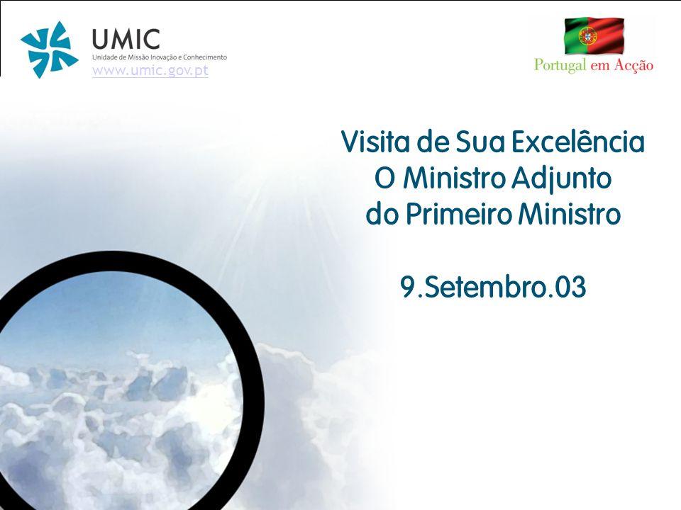 # Visita Ministro Adjunto do Primeiro Ministro – 09.Setembro.03 Ponto de Situação da Iniciativa - Instituições Candidataram-se todas as Universidades e Institutos Politécnicos.