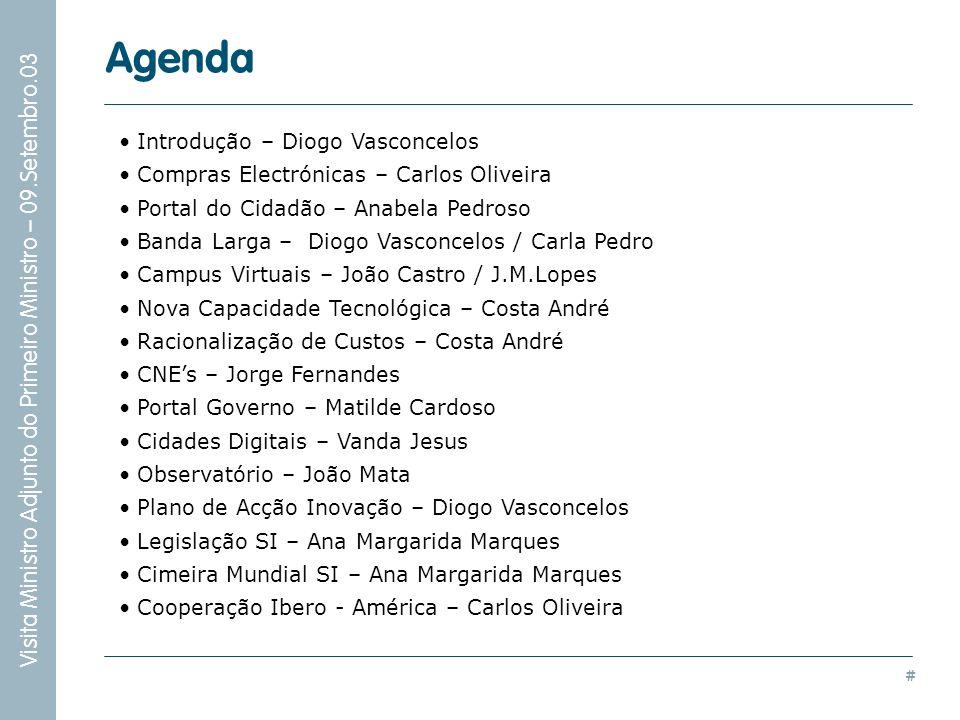 # Visita Ministro Adjunto do Primeiro Ministro – 09.Setembro.03 Introdução – Diogo Vasconcelos Compras Electrónicas – Carlos Oliveira Portal do Cidadã