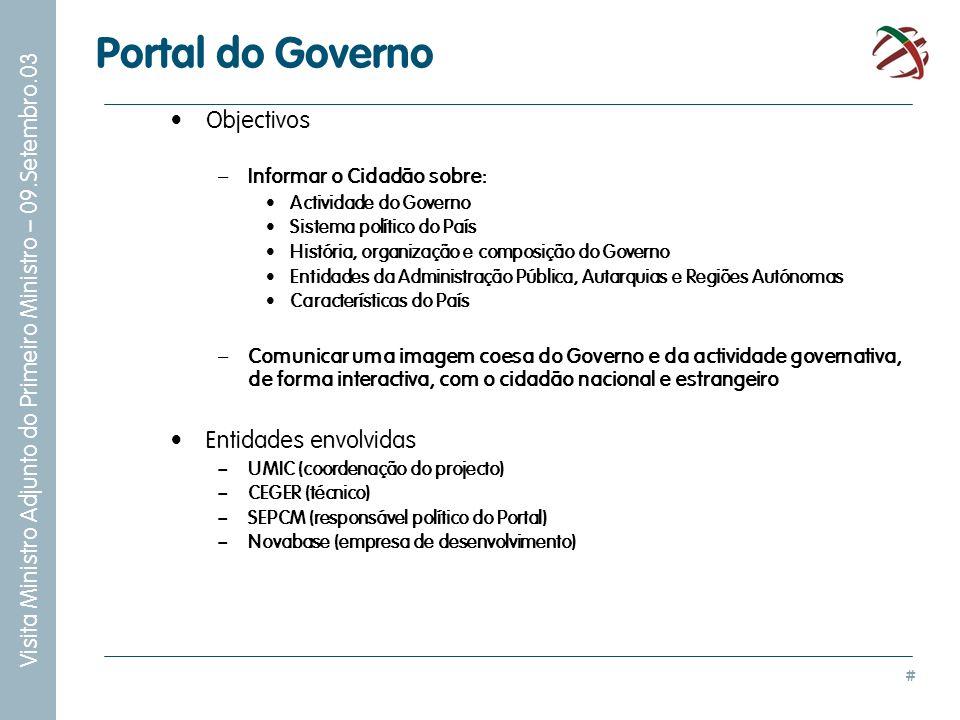 # Visita Ministro Adjunto do Primeiro Ministro – 09.Setembro.03 Portal do Governo Objectivos – Informar o Cidadão sobre: Actividade do Governo Sistema