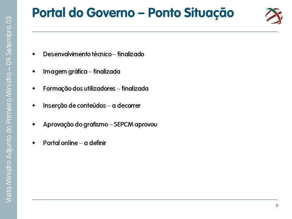 # Visita Ministro Adjunto do Primeiro Ministro – 09.Setembro.03 Portal do Governo – Ponto Situação Desenvolvimento técnico – finalizado Imagem gráfica