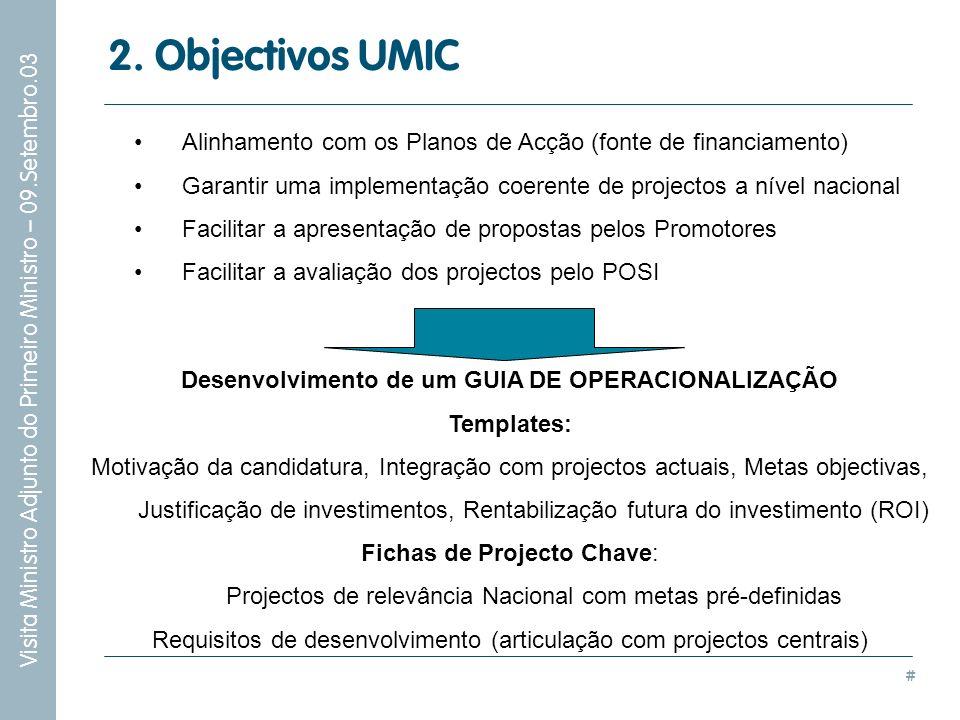 # Visita Ministro Adjunto do Primeiro Ministro – 09.Setembro.03 2. Objectivos UMIC Alinhamento com os Planos de Acção (fonte de financiamento) Garanti