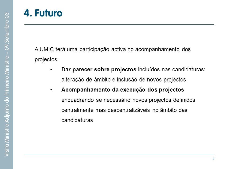 # Visita Ministro Adjunto do Primeiro Ministro – 09.Setembro.03 4. Futuro A UMIC terá uma participação activa no acompanhamento dos projectos: Dar par