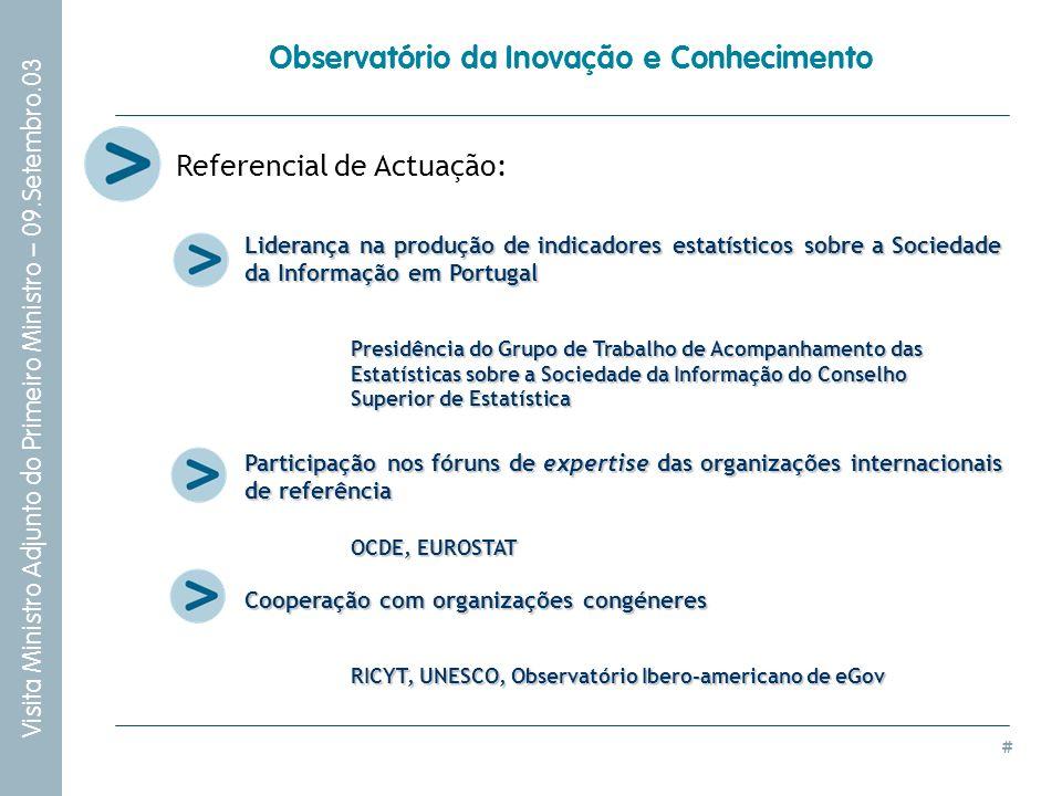 # Visita Ministro Adjunto do Primeiro Ministro – 09.Setembro.03 Observatório da Inovação e Conhecimento Referencial de Actuação: Liderança na produção