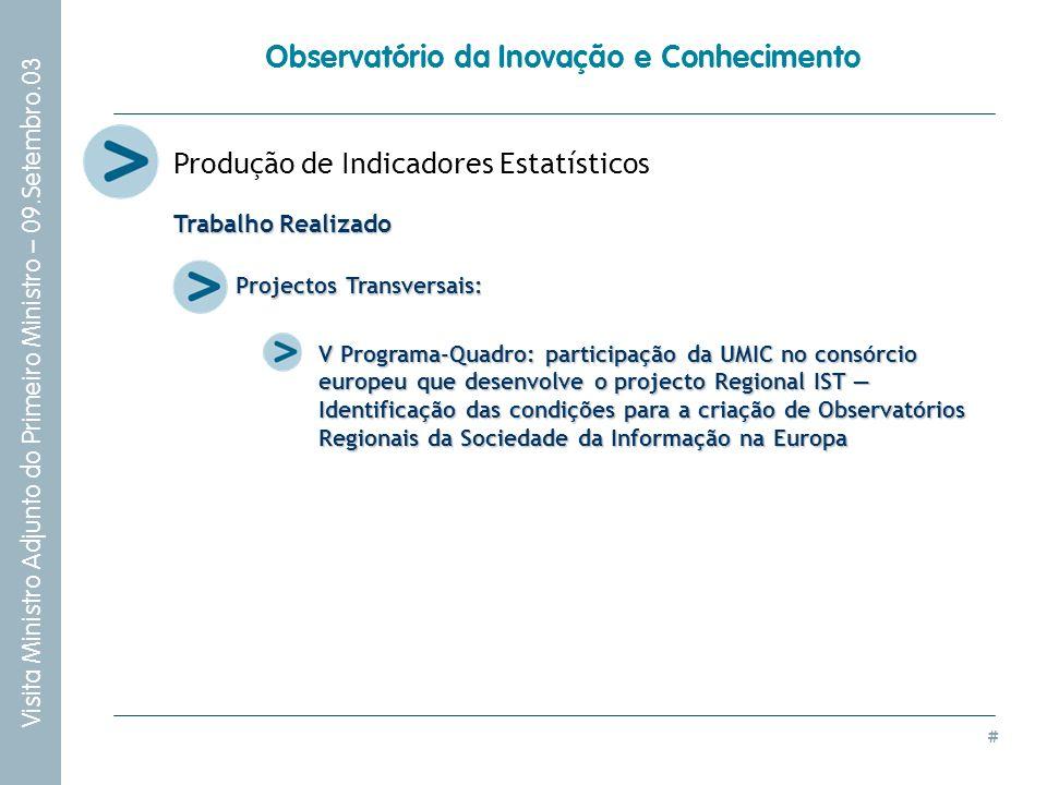 # Visita Ministro Adjunto do Primeiro Ministro – 09.Setembro.03 Observatório da Inovação e Conhecimento Produção de Indicadores Estatísticos Projectos