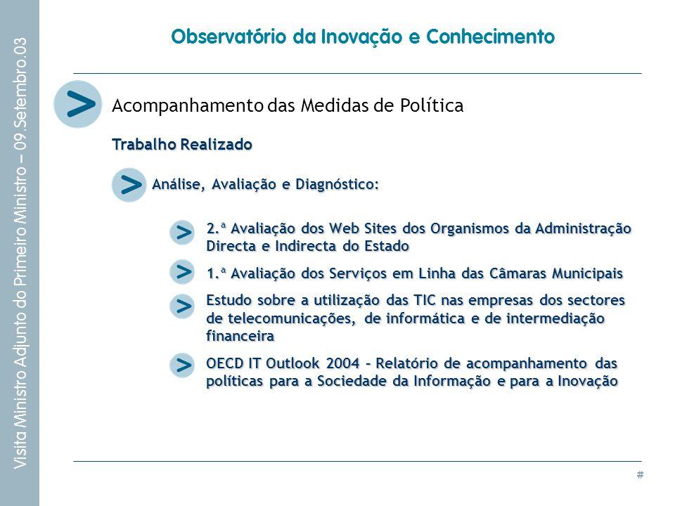 # Visita Ministro Adjunto do Primeiro Ministro – 09.Setembro.03 Observatório da Inovação e Conhecimento Acompanhamento das Medidas de Política Análise