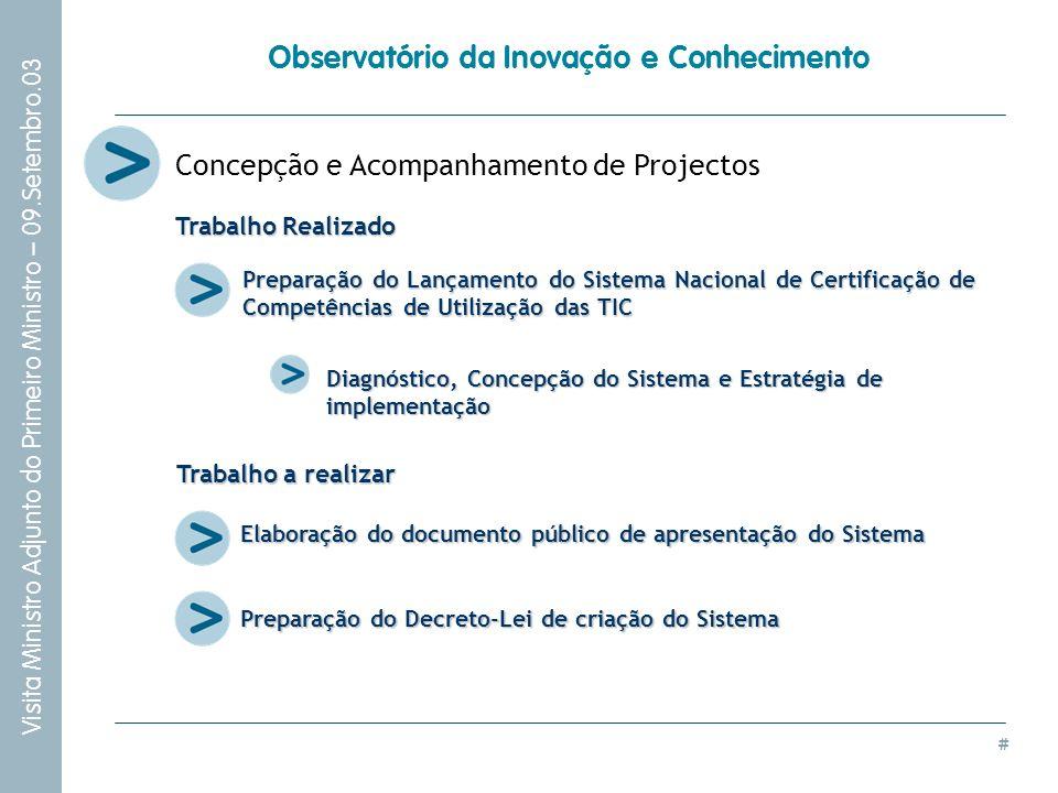 # Visita Ministro Adjunto do Primeiro Ministro – 09.Setembro.03 Observatório da Inovação e Conhecimento Concepção e Acompanhamento de Projectos Prepar