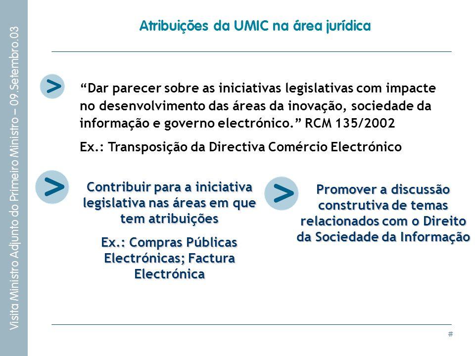 # Visita Ministro Adjunto do Primeiro Ministro – 09.Setembro.03 Atribuições da UMIC na área jurídica Dar parecer sobre as iniciativas legislativas com