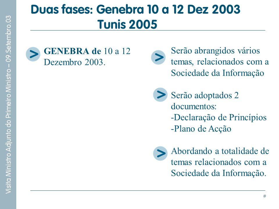# Visita Ministro Adjunto do Primeiro Ministro – 09.Setembro.03 GENEBRA de 10 a 12 Dezembro 2003. Duas fases: Genebra 10 a 12 Dez 2003 Tunis 2005 Serã