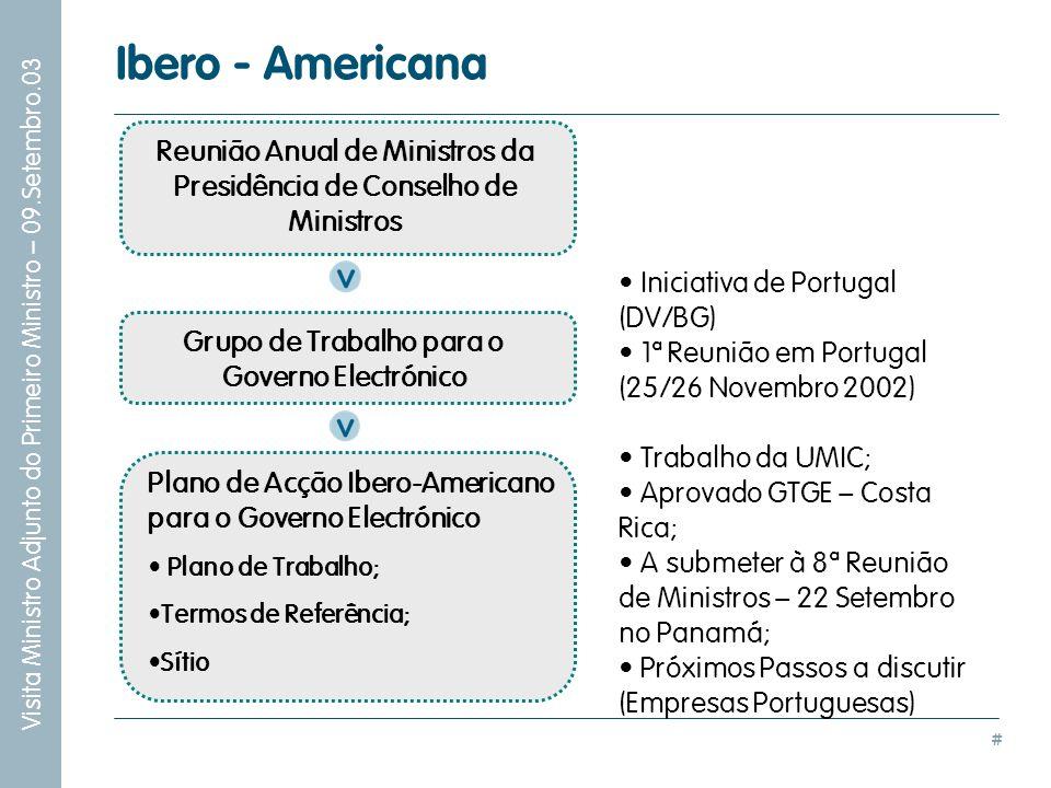# Visita Ministro Adjunto do Primeiro Ministro – 09.Setembro.03 Iniciativa de Portugal (DV/BG) 1ª Reunião em Portugal (25/26 Novembro 2002) Trabalho d