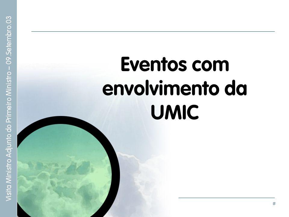 # Visita Ministro Adjunto do Primeiro Ministro – 09.Setembro.03 Eventos com envolvimento da UMIC