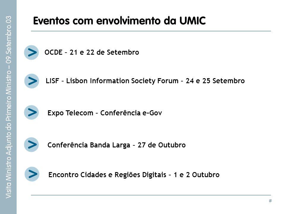 # Visita Ministro Adjunto do Primeiro Ministro – 09.Setembro.03 Eventos com envolvimento da UMIC OCDE – 21 e 22 de Setembro Expo Telecom – Conferência