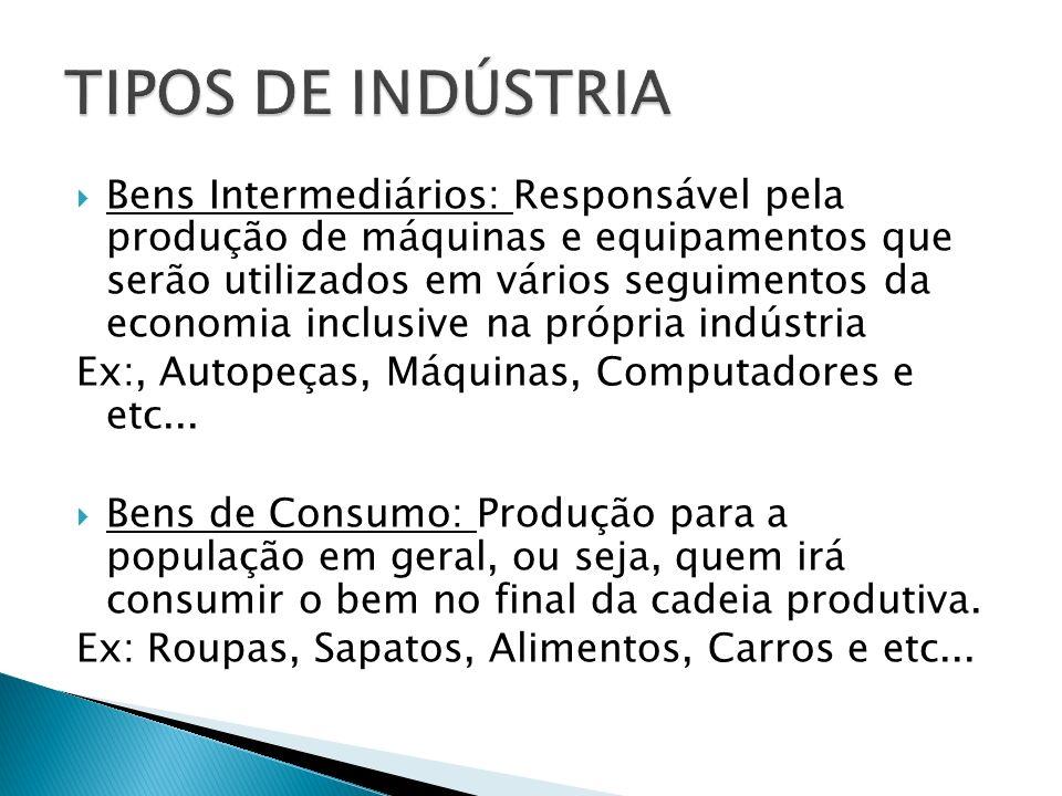 Bens Intermediários: Responsável pela produção de máquinas e equipamentos que serão utilizados em vários seguimentos da economia inclusive na própria