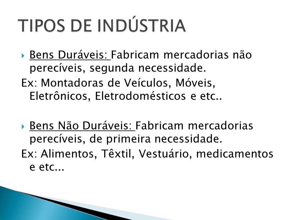 Bens Duráveis: Fabricam mercadorias não perecíveis, segunda necessidade. Ex: Montadoras de Veículos, Móveis, Eletrônicos, Eletrodomésticos e etc.. Ben