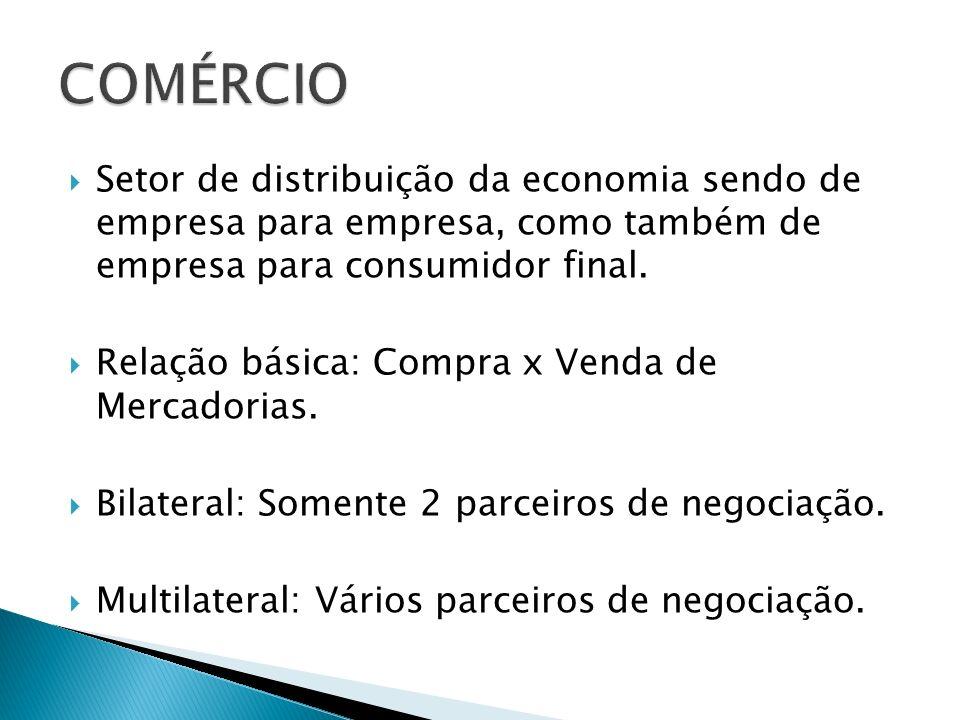 Setor de distribuição da economia sendo de empresa para empresa, como também de empresa para consumidor final. Relação básica: Compra x Venda de Merca