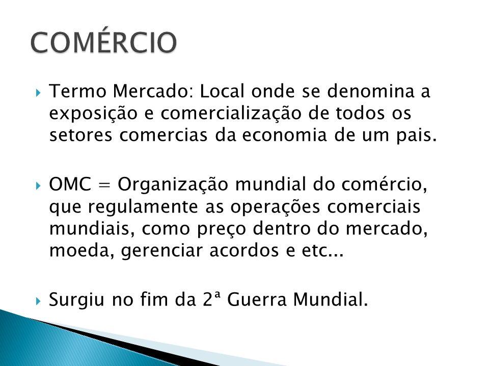 Termo Mercado: Local onde se denomina a exposição e comercialização de todos os setores comercias da economia de um pais. OMC = Organização mundial do