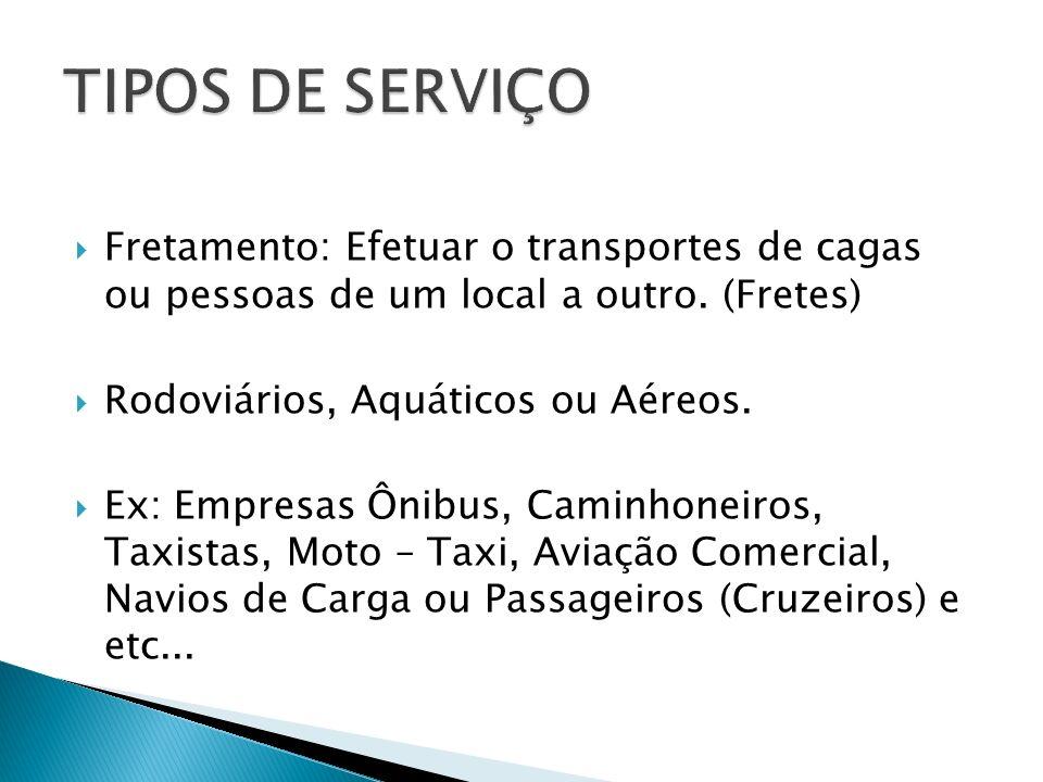 Fretamento: Efetuar o transportes de cagas ou pessoas de um local a outro. (Fretes) Rodoviários, Aquáticos ou Aéreos. Ex: Empresas Ônibus, Caminhoneir