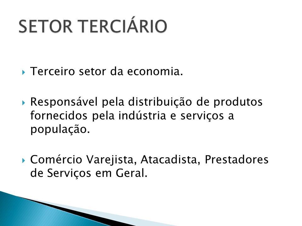 Terceiro setor da economia. Responsável pela distribuição de produtos fornecidos pela indústria e serviços a população. Comércio Varejista, Atacadista