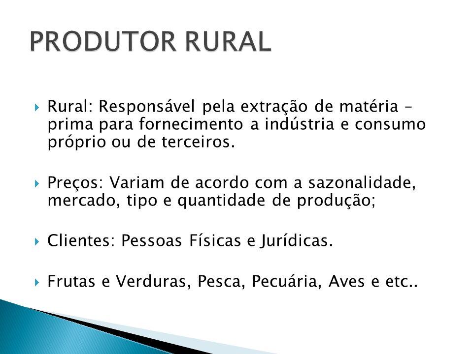 Rural: Responsável pela extração de matéria – prima para fornecimento a indústria e consumo próprio ou de terceiros. Preços: Variam de acordo com a sa